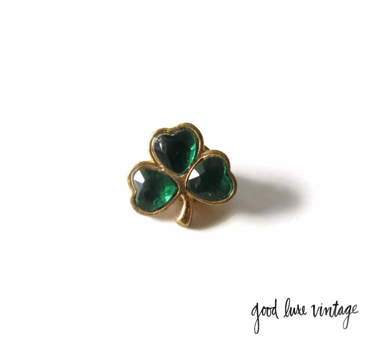 Shamrock Brooch Pin Emerald Green Rhinestones Irish St_ Patrick's Day Lucky Clover Costume Jewelry Accessory Tack Pin Tie Gold Tone by GoodLuxeVintage on Etsy